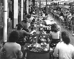 Women on the production line at Garrads - a Plessey subsidary